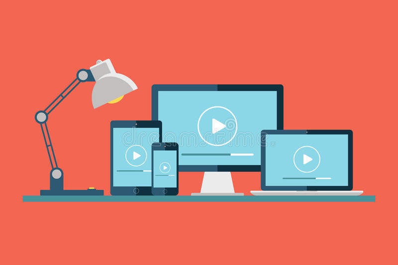 Desktop computer, laptop, tablet and smartphone with play button on the screen. Play icon. Video player. Media player. stock illustration