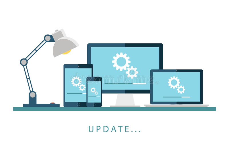 Desktop computer, laptop, tablet and smartphone with update screen. Update process. Install new software, operating system, update support. Vector illustration vector illustration
