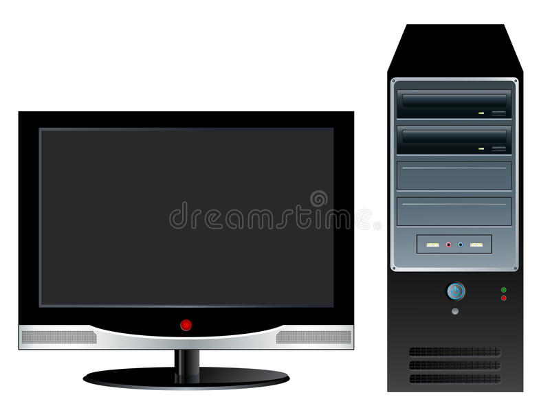Desktop Computer. With LCD monitor vector illustration