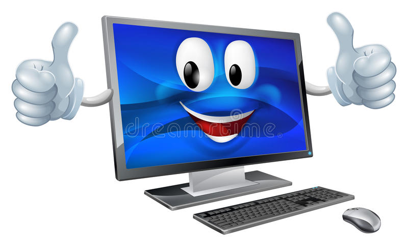 Desktop computer mascot. A cute happy cartoon computer mascot character smiling and doing a thumbs up royalty free illustration
