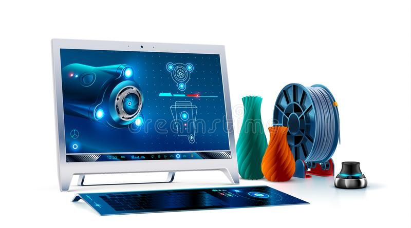 Desktop computer monitor with keyboard and 3d navigator. 3d cad software on screen monoblock. 3d modeling for print on 3d printing royalty free illustration