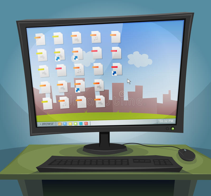 Desktop Computer with Operating System On Screen. Illustration of a cartoon desktop computer at night, with screen turned on, within files icons, folders and stock illustration