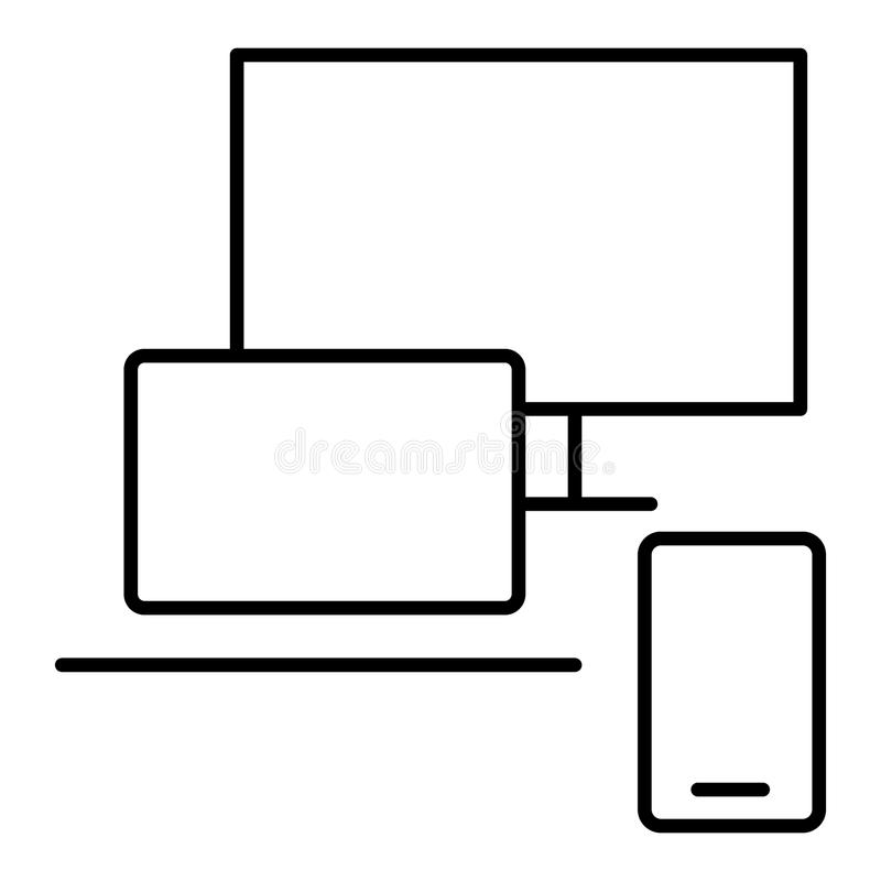 Desktop computer outline icon. linear style sign for mobile concept and web design. Monitor with keyboard and mouse royalty free illustration