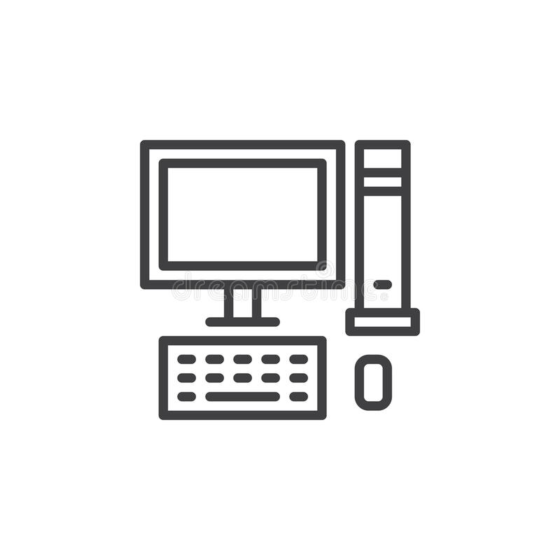 Desktop Computer Pc Line Icon Outline Vector Sign Linear Style
