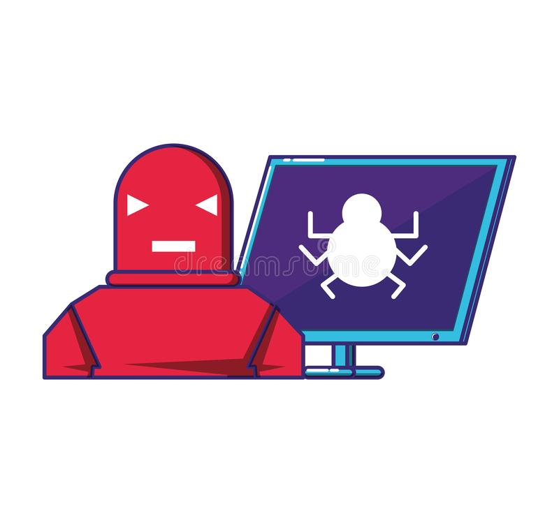 Desktop computer with robot. Vector illustration design vector illustration