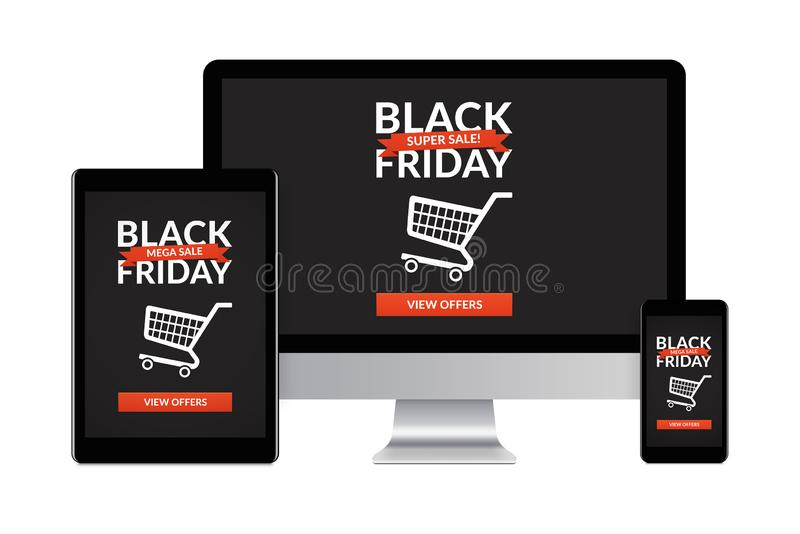 Black friday concept on electronic devices isolated on white background. Desktop computer, tablet and smartphone isolated on white with black friday concept on vector illustration