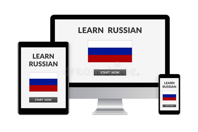 Learn russian concept on electronic devices isolated on white ba royalty free stock photo