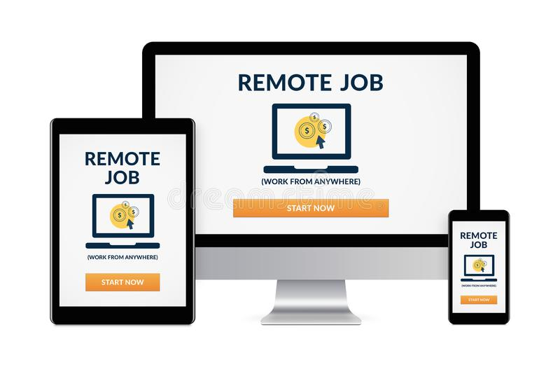 Remote job concept on electronic devices isolated on white background royalty free stock photos