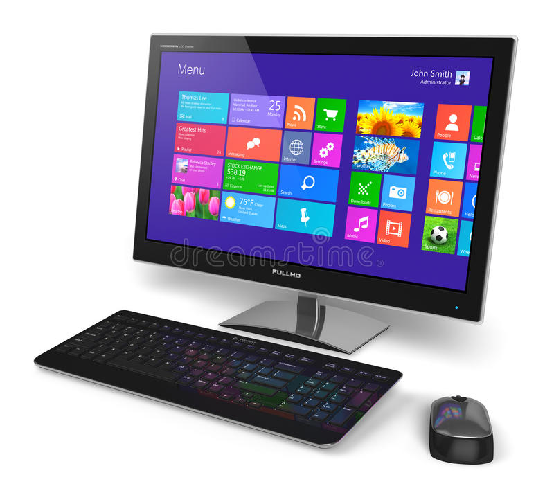 Desktop computer with touchscreen interface. Modern office business desktop computer PC system monitor with touchscreen interface with color icons, keyboard and stock illustration