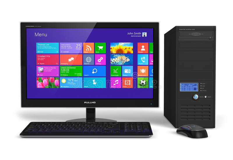 Desktop computer with touchscreen interface. Modern office business desktop computer PC system: monitor with touchscreen interface with color icons, tower case vector illustration