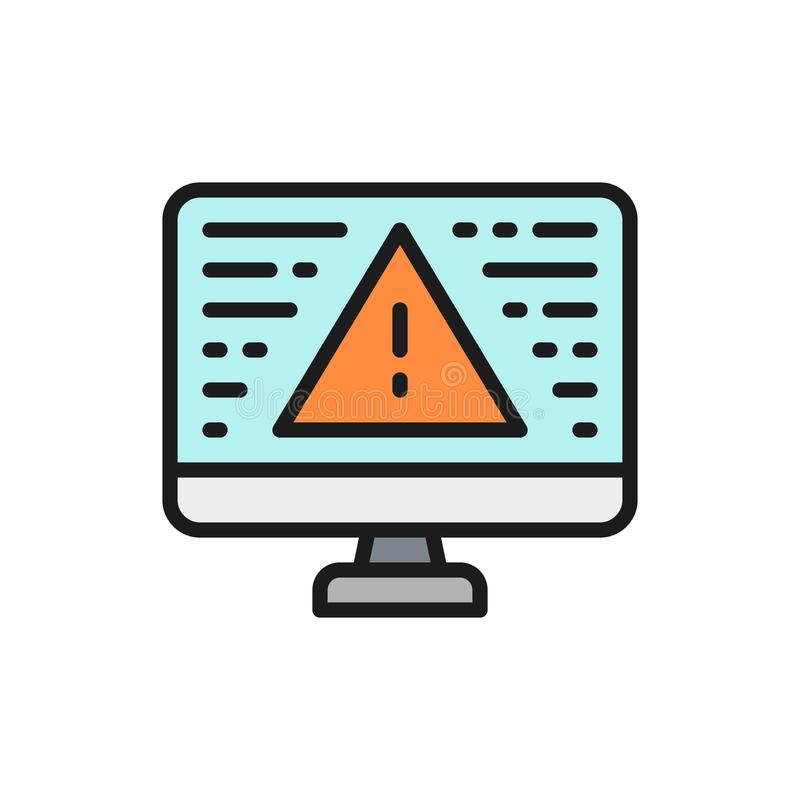 Desktop computer with warning sign, screen error, notification color line icon. Vector desktop computer with warning sign, screen error, notification flat color stock illustration