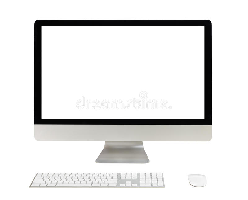 Desktop computer with white screen royalty free stock images