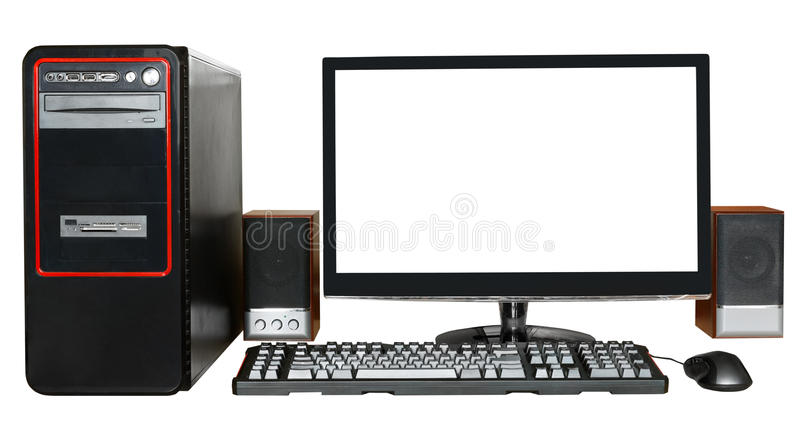 Desktop computer with widescreen display. Black desktop computer, widescreen display with cutout screen, keyboard, mouse, speakers isolated on white background royalty free stock photography