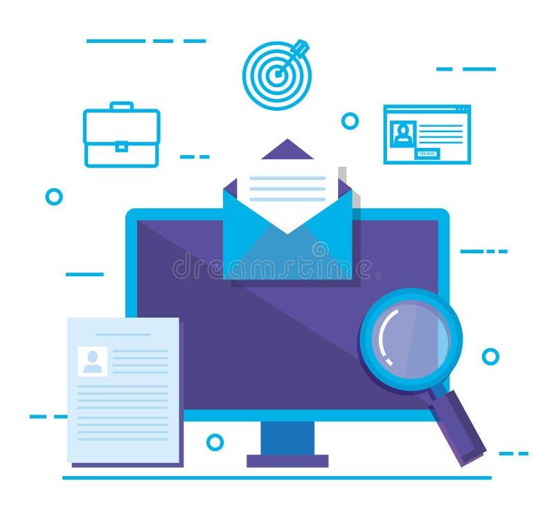 Desktop con i media sociali che commercializzano le icone illustrazione vettoriale