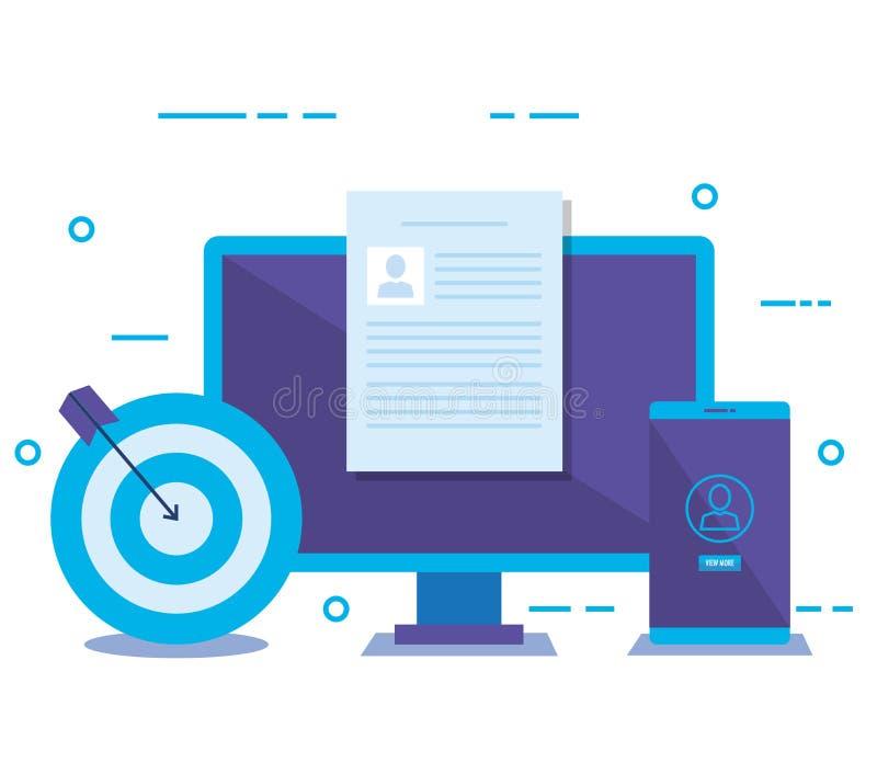 Desktop con i media sociali che commercializzano le icone illustrazione di stock