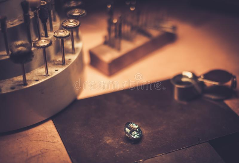 Desktop for craft jewellery making. royalty free stock photography