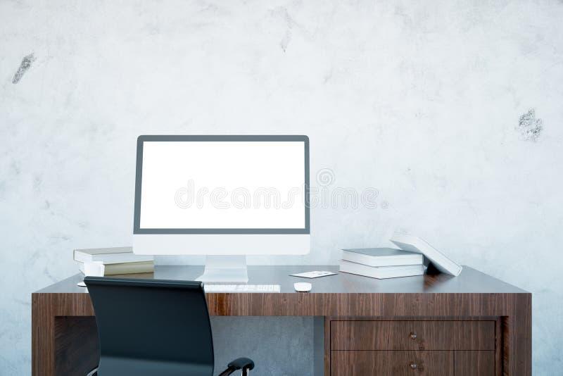 Desktop de madeira com computador vazio ilustração royalty free