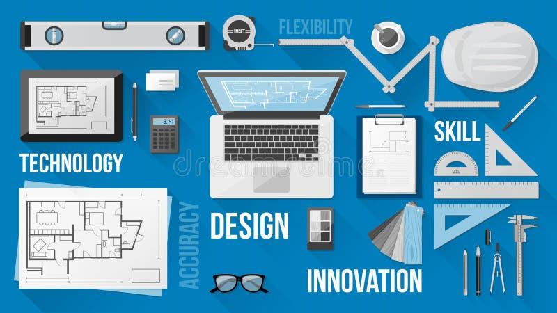 Desktop dell'ingegnere di costruzione royalty illustrazione gratis