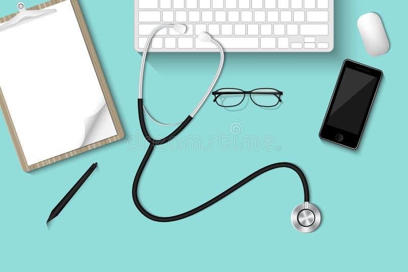 Desktop della tavola di Doctor's con attrezzatura personale , Sanità royalty illustrazione gratis