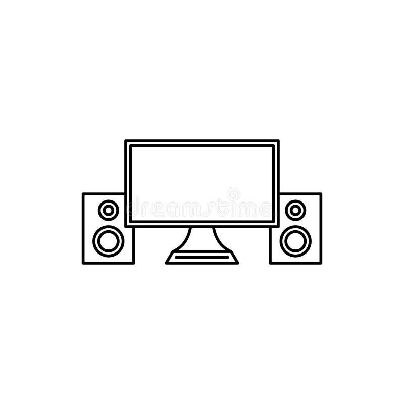 Desktop do computador com ícone do orador dos multimédios ilustração do vetor