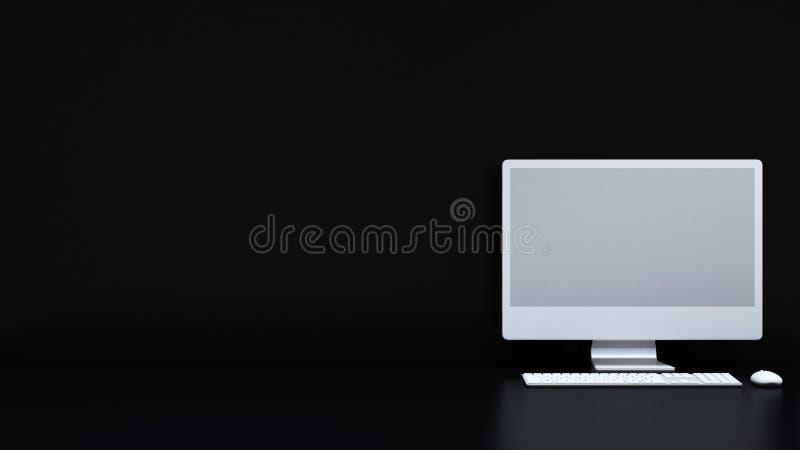 Desktop do computador/monitor, teclado, rato - rendição 3D ilustração stock