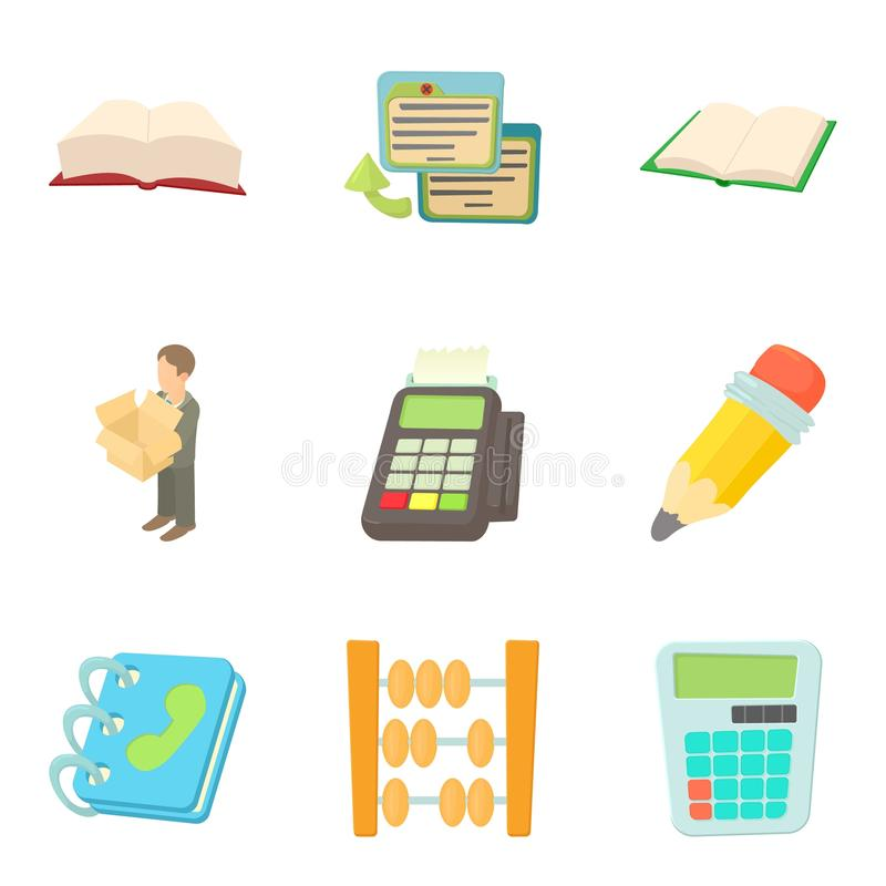 Desktop environment icons set, cartoon style. Desktop environment icons set. Cartoon set of 9 work environment vector icons for web isolated on white background stock illustration