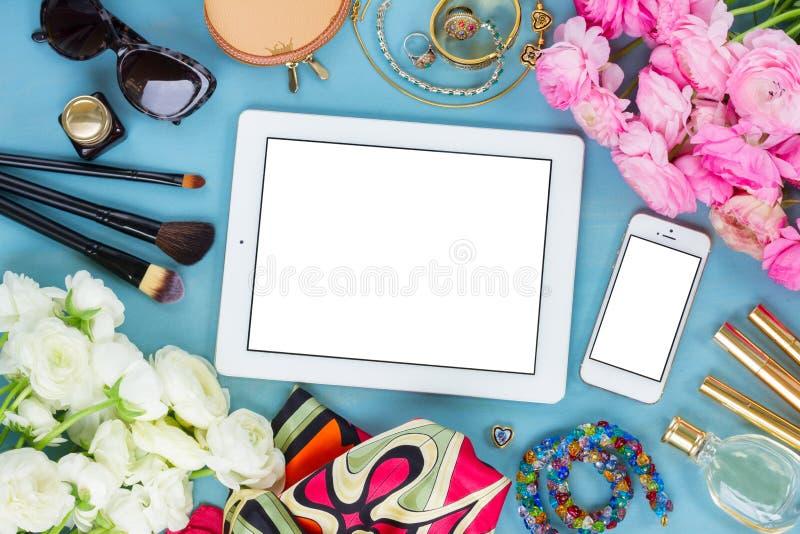 Desktop feminino denominado fotografia de stock