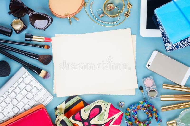 Desktop femminile disegnato fotografia stock