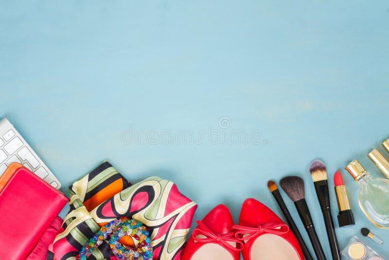 Desktop femminile disegnato immagine stock libera da diritti