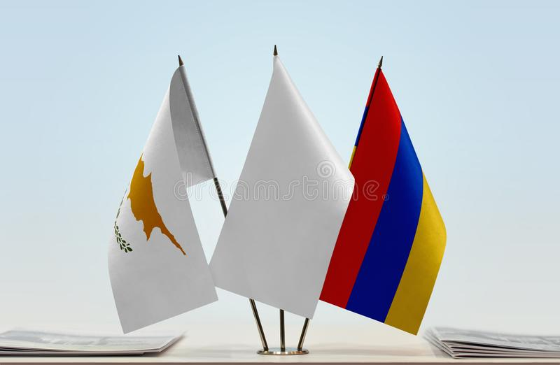 Flags of Cyprus and Armenia. Desktop flags of Cyprus and Armenia and white flag in the middle stock illustration