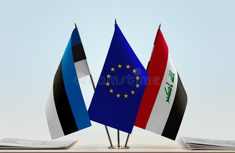 Flags of Estonia EU and Iraq. Desktop flags of Estonia and Iraq with European Union flag in the middle vector illustration