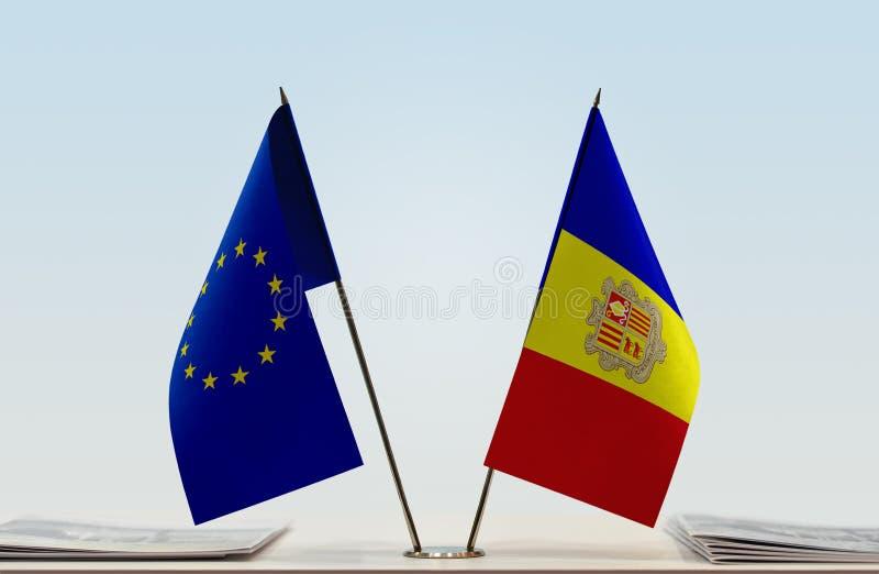 Flag of European Union and Andorra royalty free stock photos