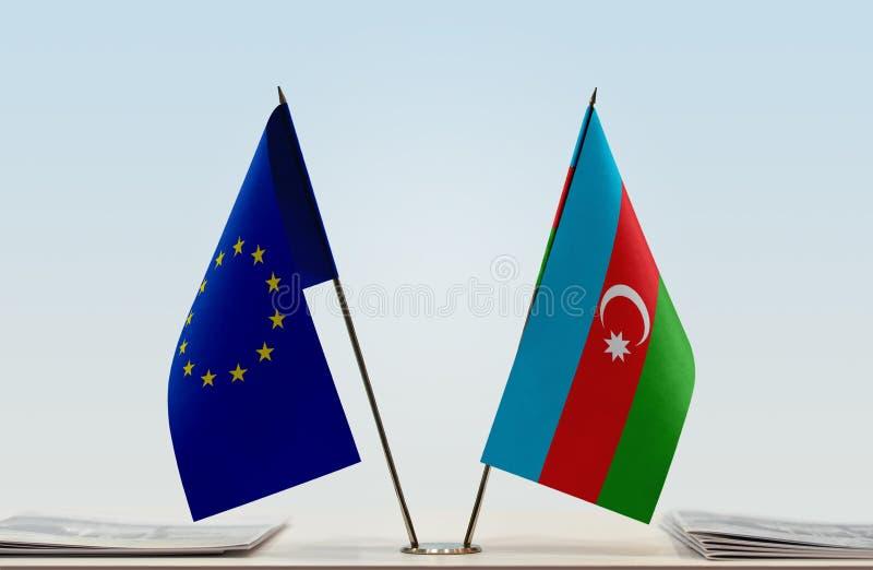 Flag of European Union and Azerbaijan royalty free stock photo
