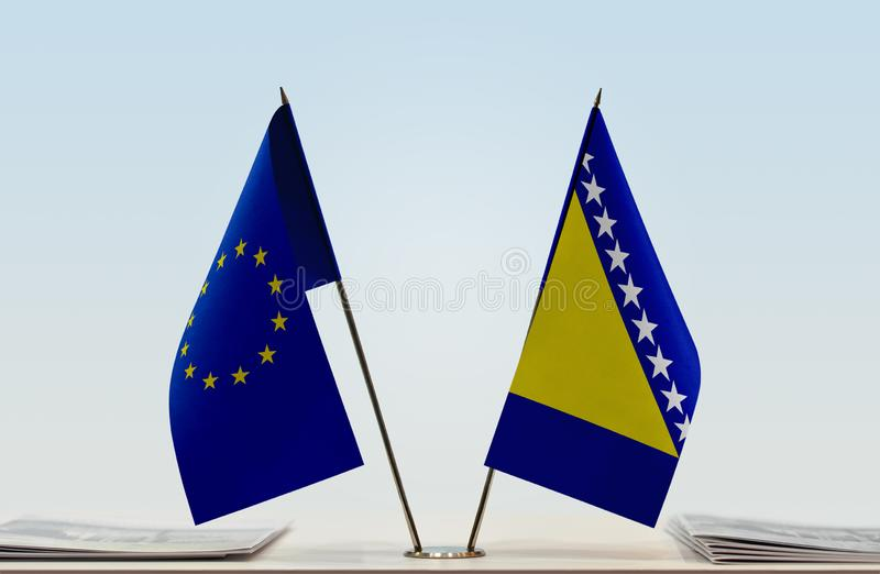 Flag of European Union and Bosnia and Herzegovina royalty free stock image