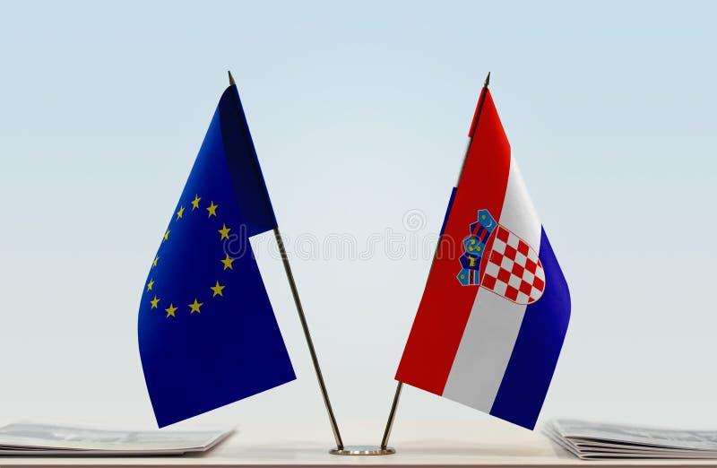 Flag of European Union and Croatia stock photos