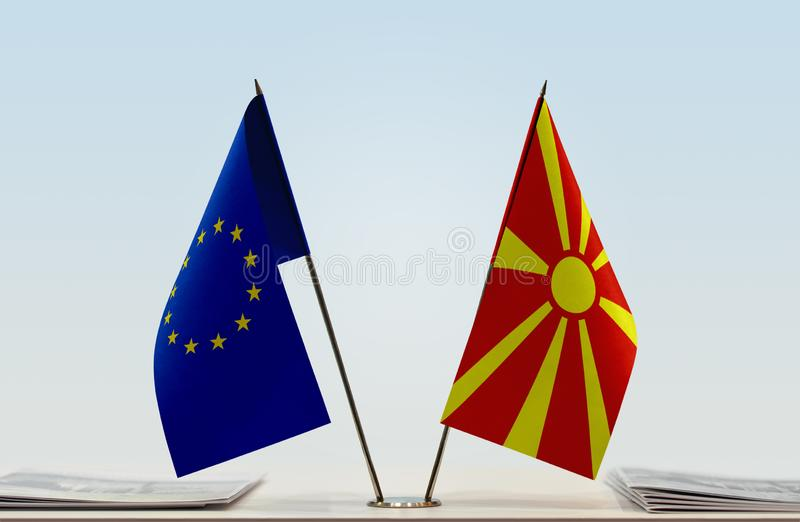 Flag of European Union and Macedonia FYROM royalty free stock images