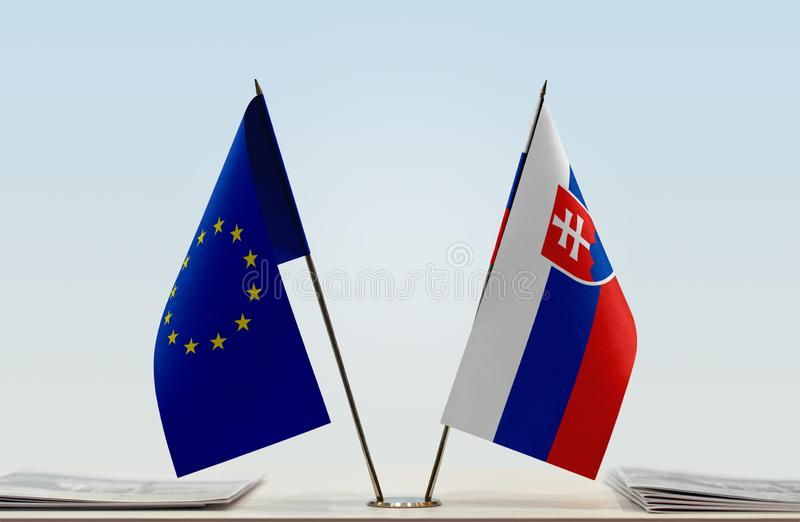 Flag of European Union and Slovakia royalty free stock images