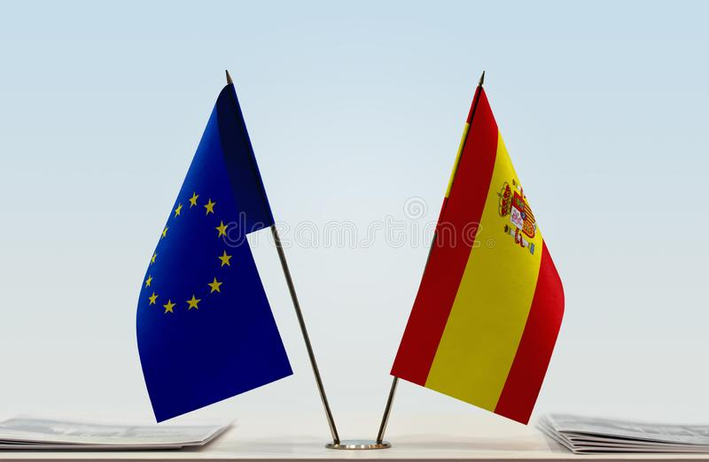 Flag of European Union and Spain stock images