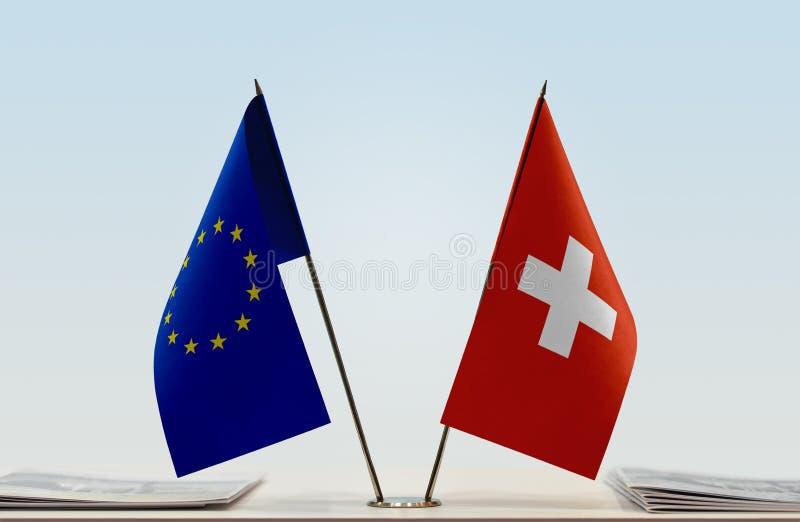 Flag of European Union and Switzerland stock image