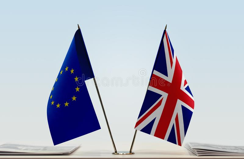 Flag of European Union and United Kingdom royalty free stock photography