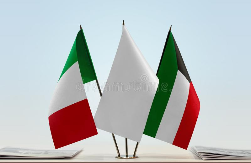 Flags of Italy and Kuwait. Desktop flags of Italy and Kuwait with white flag in the middle vector illustration