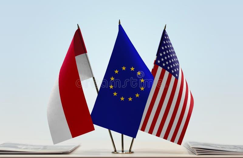 Flags of Monaco EU and USA royalty free stock photo