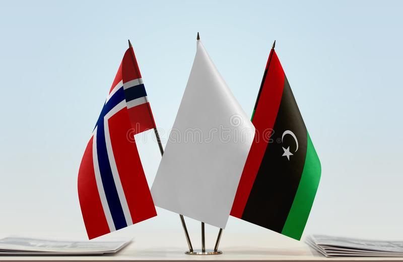 Flags of Norway and Libya stock photo