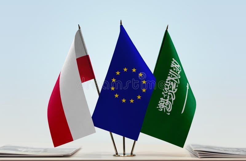 Flags of Poland EU and Saudi Arabia royalty free illustration