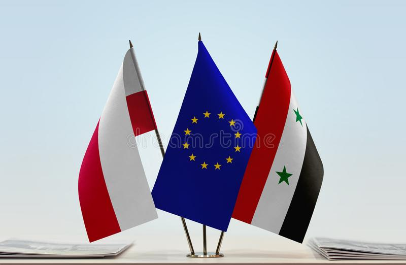 Flags of Poland EU and Syria. Desktop flags of Poland and Syria with European Union flag in the middle royalty free illustration