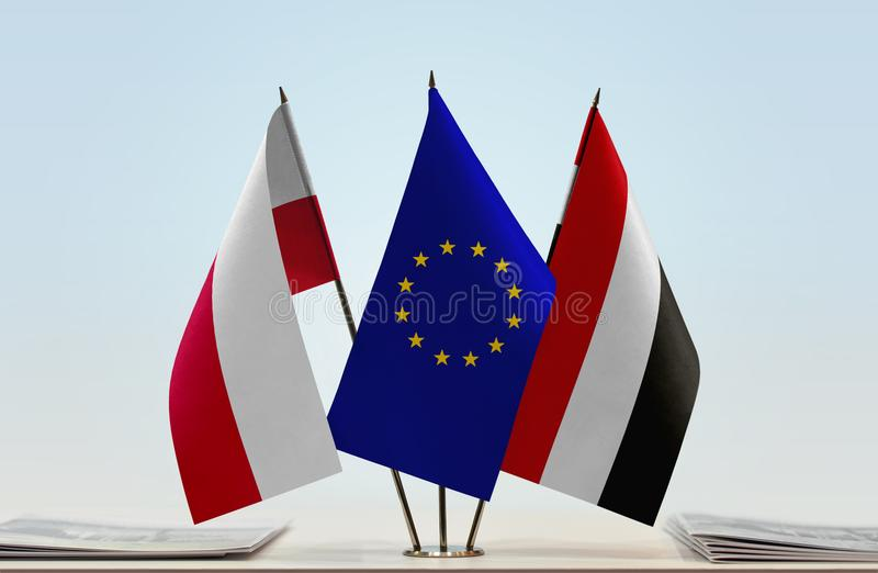 Flags of Poland EU and Yemen. Desktop flags of Poland and Yemen with European Union flag in the middle vector illustration