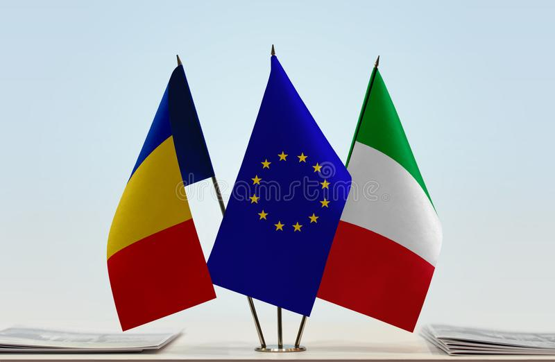 Flags of Romania European Union and Italy royalty free stock photography