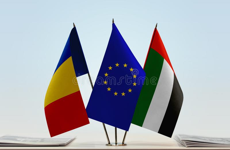 Flags of Romania EU and UAE. Desktop flags of Romania and UAE with European Union flag in the middle vector illustration