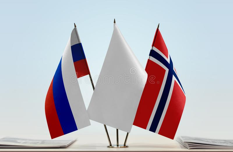 Flags of Russia and Norway royalty free stock photos
