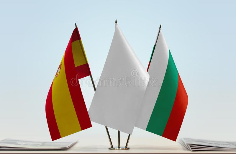 Flags of Spain and Bulgaria. Desktop flags of Spain and Bulgaria with a white flag in the middle royalty free illustration